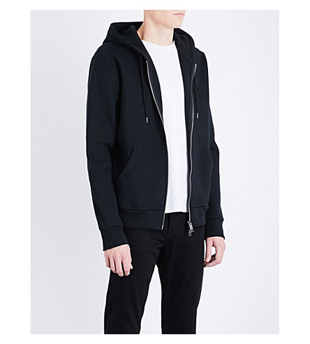 BURBERRY Embroidered-knight cotton-blend hoody (Black