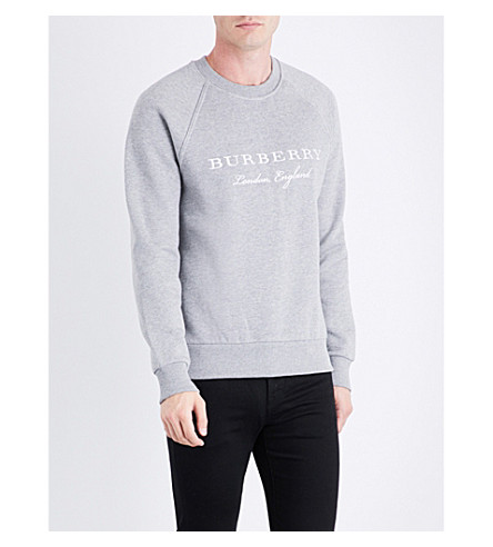 BURBERRY Logo-embroidered cotton-jersey sweatshirt (Pale+grey+melange