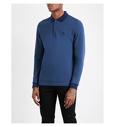BURBERRY Logo-embroidered cotton-piqué polo shirt (Canvas+blue