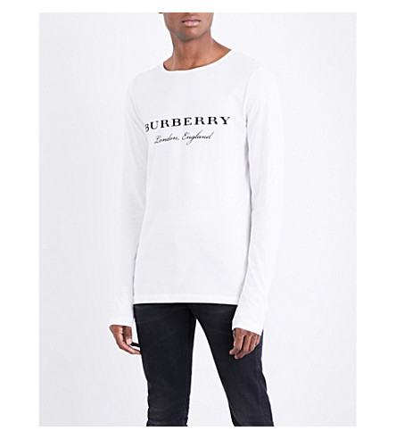 BURBERRY Logo-embroidered cotton-jersey top (Off+white