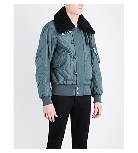 BURBERRY Shearling collar shell and wool-blend bomber jacket (Smokey+green