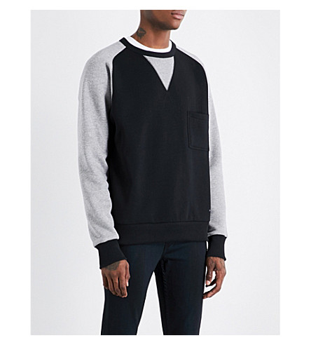 BURBERRY Contrast-sleeve cotton-blend sweatshirt (Black