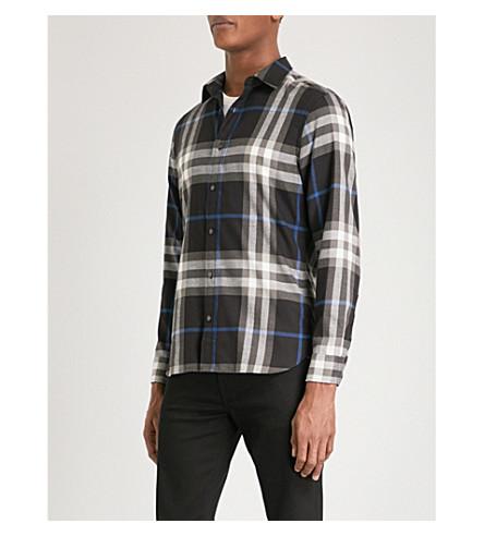 BURBERRY Salwick regular-fit brushed cotton shirt (Black