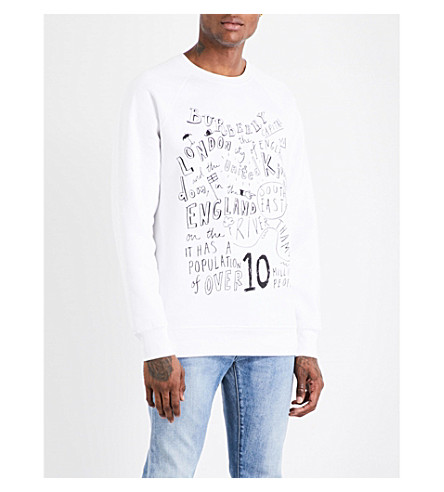 BURBERRY Text-print cotton-jersey sweatshirt (White