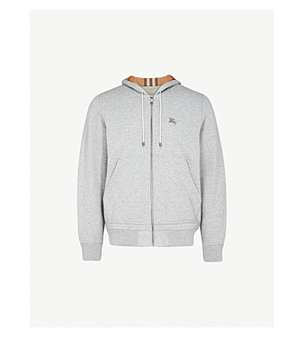 BURBERRY Fordson cotton-blend hoody (Pale+grey+melange