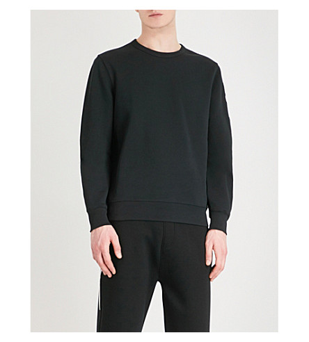 BURBERRY Logo-embroidered cotton-blend sweatshirt (Black