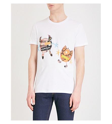 BURBERRY Beaford appliquéd cotton-jersey T-shirt (White