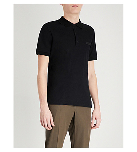 BURBERRY Henningford cotton-piqué polo shirt (Black