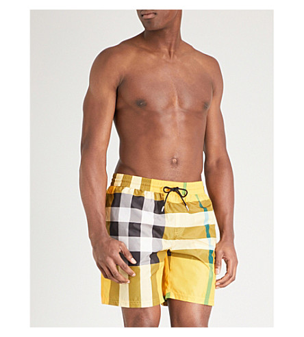 BURBERRY Guildes checked swim shorts (Bright+yellow