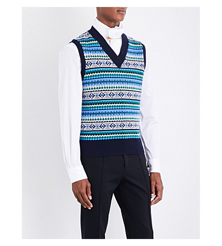 BURBERRY Fair Isle wool-blend vest (Navy