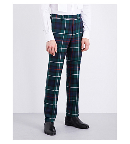 BURBERRY Tartan-patterned tailored-fit wool trousers (Forest+green