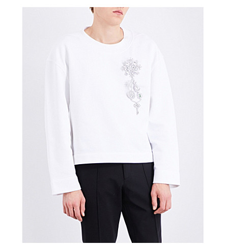 BURBERRY Embellished cotton-jersey sweatshirt (Optic+white