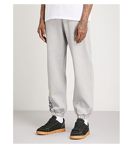 BURBERRY Rainbow-logo cotton-fleece jogging bottoms (Grey melange