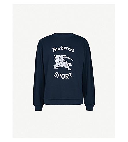 BURBERRY Logo-print cotton-blend sweatshirt (Navy+blue