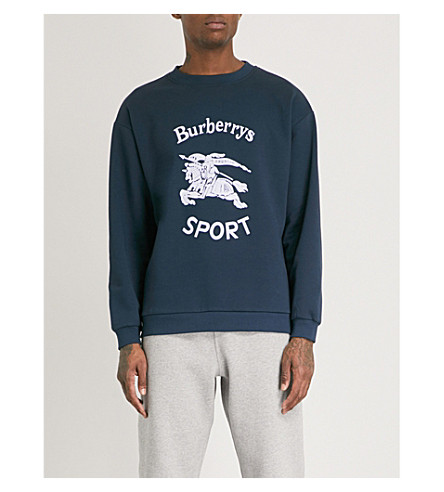 BURBERRY Logo-print cotton-blend sweatshirt (Navy blue