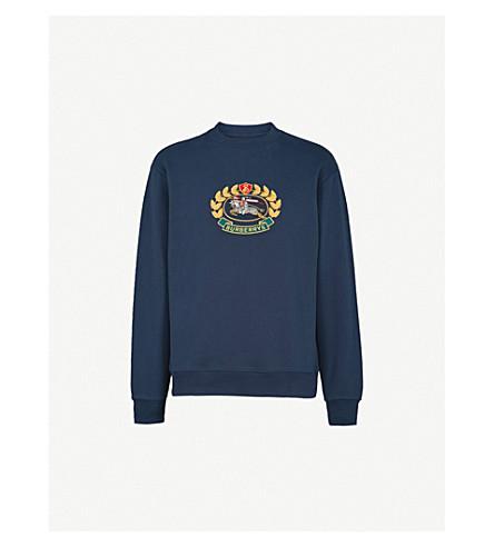 BURBERRY Burberrys brand-embroidered cotton-blend sweatshirt (Dark+blue