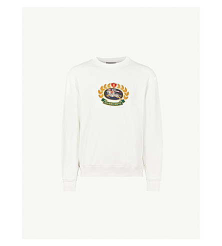 BURBERRY Brushed cotton-blend sweatshirt (Off white