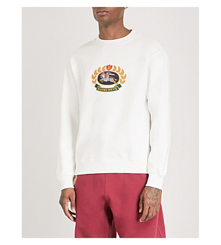 BURBERRY Brushed cotton-blend sweatshirt (Off+white
