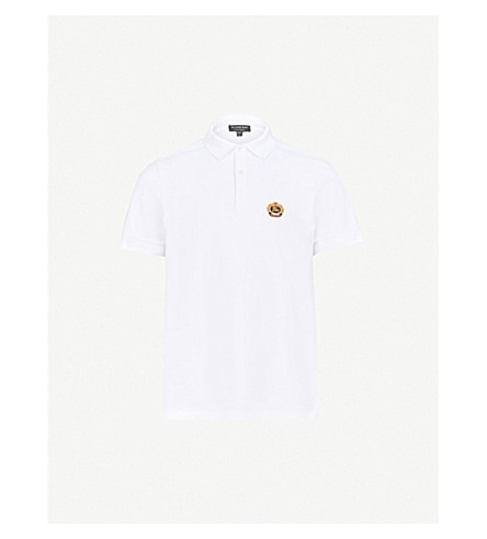 BURBERRY Burberrys brand-embroidered cotton-piqué polo shirt (White