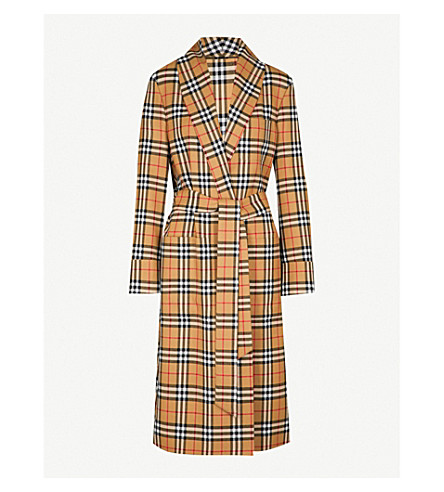 BURBERRY Heritage-check wool trench coat (Antique yellow