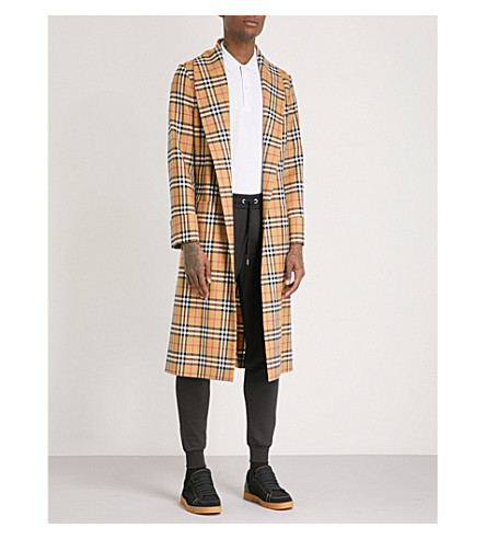 BURBERRY Heritage-check wool trench coat (Antique+yellow