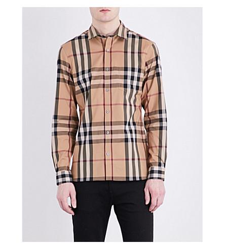 BURBERRY Regular-fit check-print cotton-blend shirt (Camel