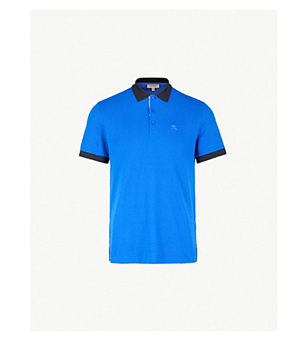 BURBERRY哈特福德棉-何塞普·皮克马球衫 (蔚蓝 + 蓝