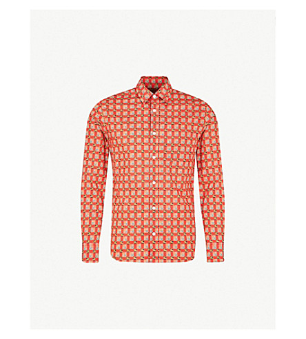BURBERRY Checked regular-fit cotton-poplin shirt (Bright+red