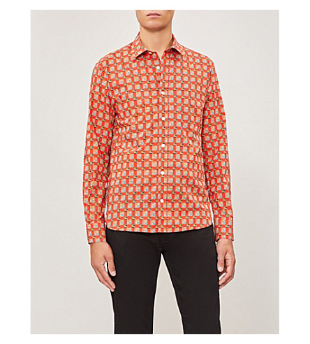 BURBERRY Checked regular-fit cotton-poplin shirt (Bright+red