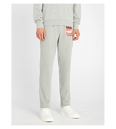 BURBERRY Coledon 平纹针织棉慢跑裤 (白 + 灰 + 混杂