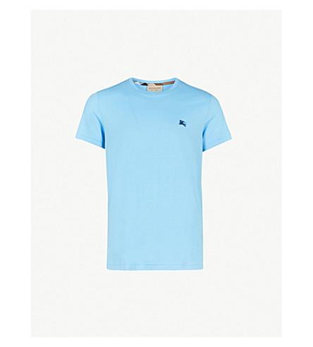 BURBERRY Logo-embroidered cotton-jersey T-shirt (Blue+topaz
