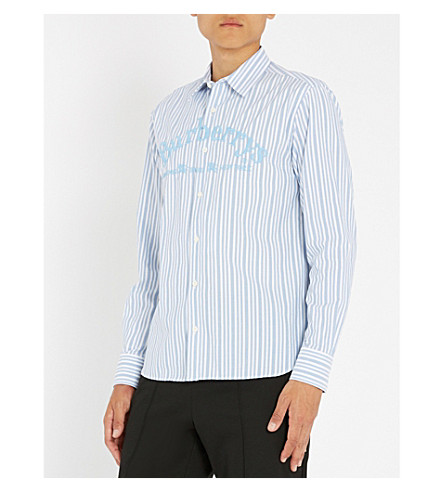 BURBERRY 条纹常规版型棉衬衫 (粉 + 蓝)