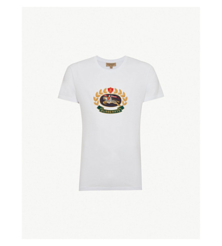 BURBERRY Gully logo-embroidered cotton-jersey T-shirt (White