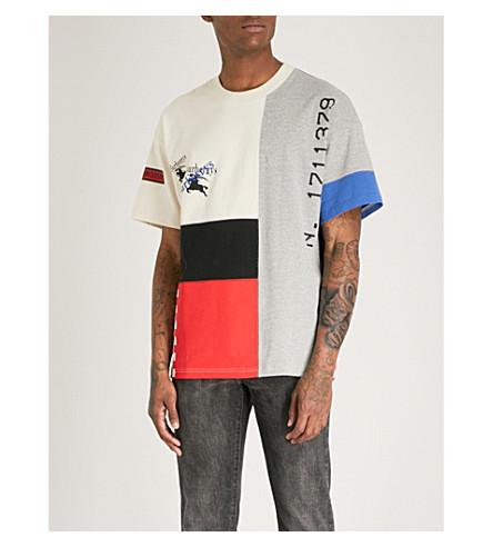 BURBERRY Palak 镶板平纹针织棉 T 恤 (白色