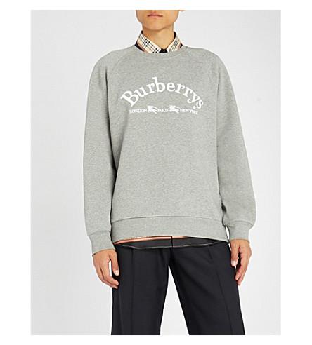 BURBERRY Battarni 标识刺绣平纹针织棉卫衣 (白 + 灰 + 混杂