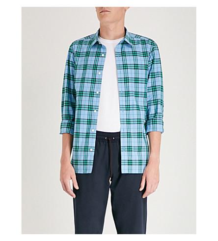 BURBERRY Alexander checked regular-fit cotton shirt (Blue+topaz