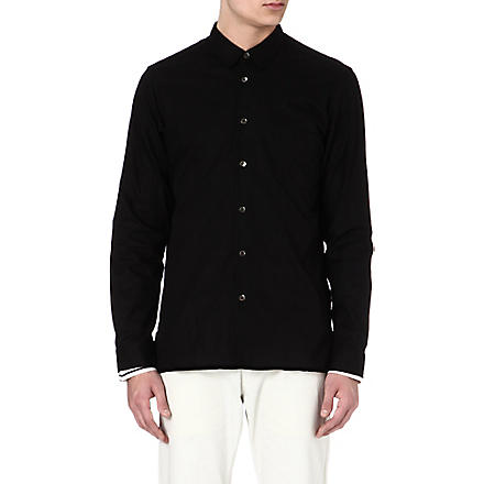 ANN DEMEULEMEESTER Contrast-trim striped shirt (Black