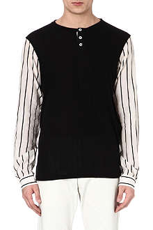 ANN DEMEULEMEESTER Striped sleeve top