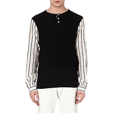 ANN DEMEULEMEESTER Striped sleeve top (Black