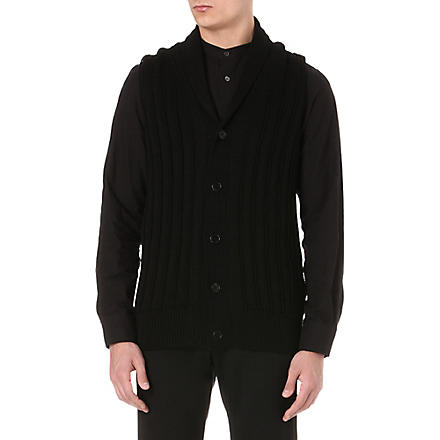 ANN DEMEULEMEESTER Wide-rib sleeveless knitted cardigan (Black