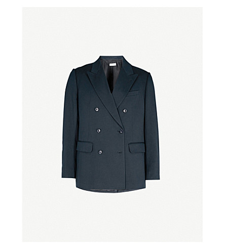DRIES VAN NOTEN Banks double-breasted cotton-twill jacket (Navy