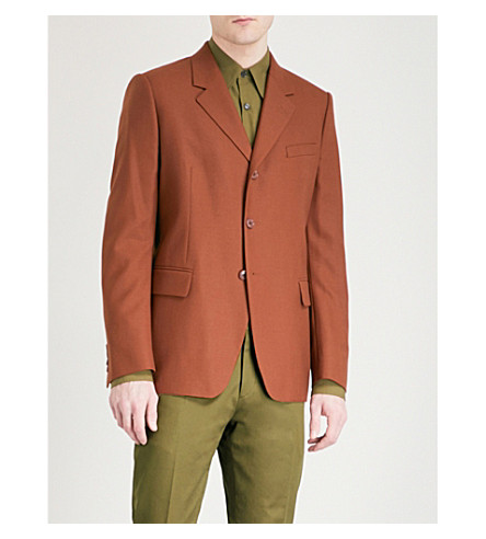 DRIES VAN NOTEN Bosley tailored-fit wool jacket (Tobacco