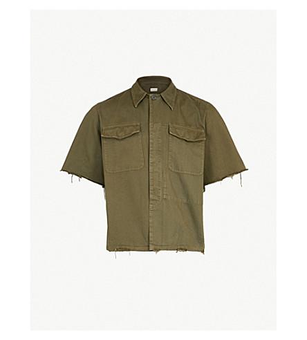 DRIES VAN NOTEN Raw-edged boxy-fit cotton shirt (Kaki