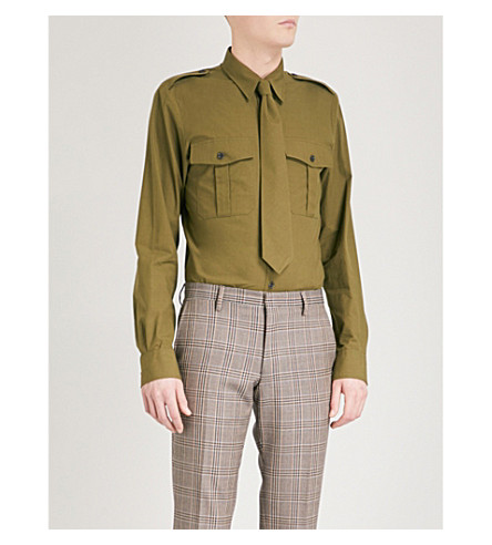DRIES VAN NOTEN Carol tailored-fit cotton shirt (Kaki