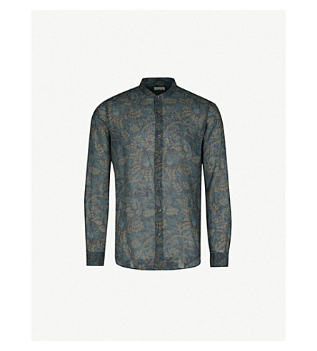 DRIES VAN NOTEN Floral-print regular-fit linen-voile shirt (Navy