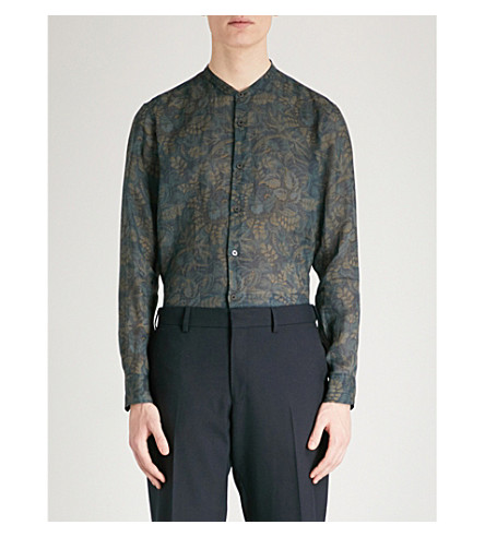 DRIES VAN NOTEN Floral-print regular-fit linen-voile shirt (Navy