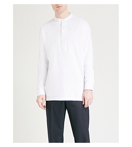 DRIES VAN NOTEN Hedge relaxed-fit cotton-jersey shirt (White