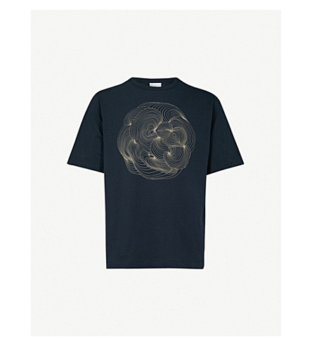 DRIES VAN NOTEN Henry cotton-jersey T-shirt (Navy