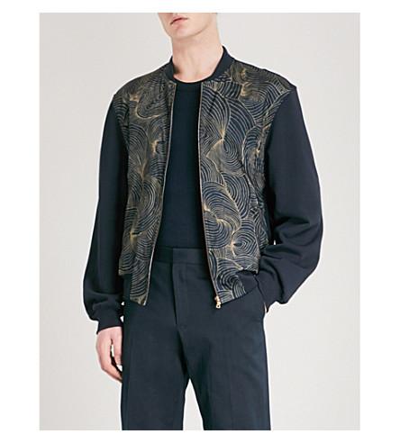 DRIES VAN NOTEN Floral-print cotton-jersey and satin bomber jacket (Navy