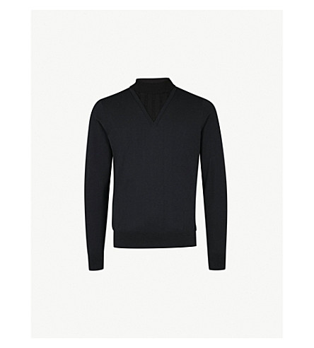 DRIES VAN NOTEN Jesse turtleneck cotton and wool-blend sweater (Navy